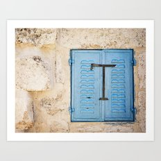Vibrant Blue Window in Stone Wall Art Print