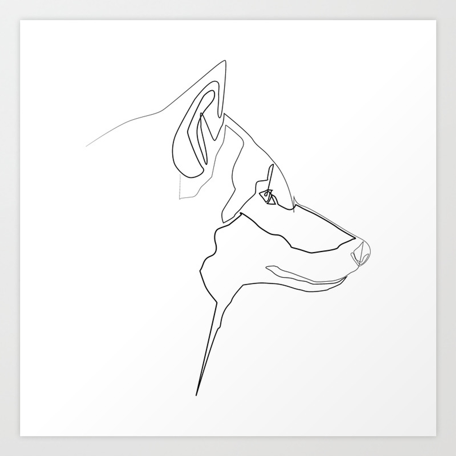 Animals collection one line wolf print art print