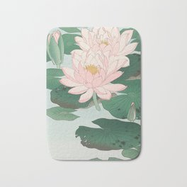 Water Lilies - Japanese vintage woodblock print Bath Mat