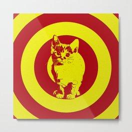 Circle red cat Metal Print