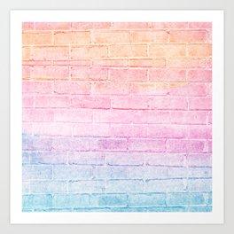 peach pink lavender blue gradient distressed painted brick wall ambient decor rustic brick effect Art Print