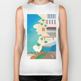 Cancun, Mexico - Skyline Illustration by Loose Petals Biker Tank