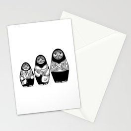 Funny male matryoshkas with beard and dumbbells Stationery Cards