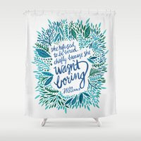 fitzgerald Shower Curtains featuring Zelda Fitzgerald – Blue on White by Cat Coquillette