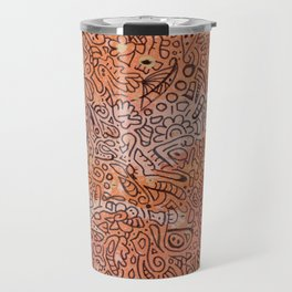 fall vibes orange doodle acrylic wood board Travel Mug
