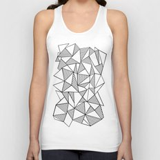 Abstraction Lines Black on White Unisex Tank Top