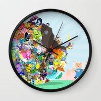 katamari Wall Clocks featuring Adventure Time - Land of Ooo Katamari by Sin nombre