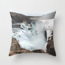 Gullfoss - Landscape Photography Throw Pillow
