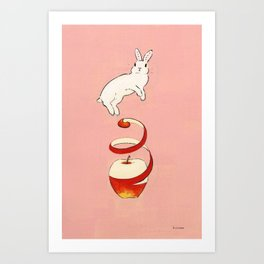 The apple makes bunny happy Art Print