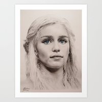 daenerys Art Prints featuring Daenerys Targaryen  by Maddy Kouns