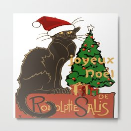 Joyeux Noel Le Chat Noir With Tree And Gifts Metal Print