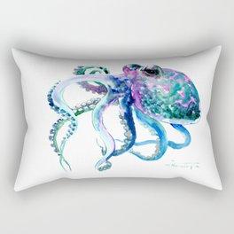 Octopus, Turquoise Green Purple Pink Octopus Design Rectangular Pillow