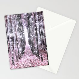 Magical Forest Pink Gray Elegance Stationery Cards