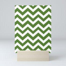 Sap green - green color - Zigzag Chevron Pattern Mini Art Print