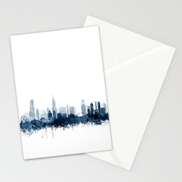 Chicago Skyline Navy Blue Watercolor by Zouzounio Art Stationery Cards