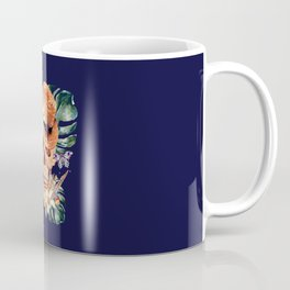 Tropical Latin Skull With Straw Hat Monstera Leaves South American Floral Kingdom Coffee Mug