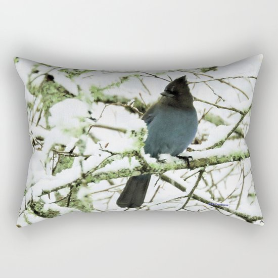 Steller's Jay in the Snow Rectangular Pillow