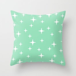 Mid Century Modern Star Pattern 443 Mint Green Throw Pillow