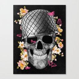 Skull Soldier Black Canvas Print