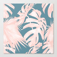 Palm Leaves Pink Coral on Deep Ocean Blue Canvas Print