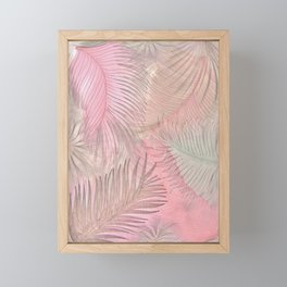 pink pastel leaves and feathers botanical print Framed Mini Art Print