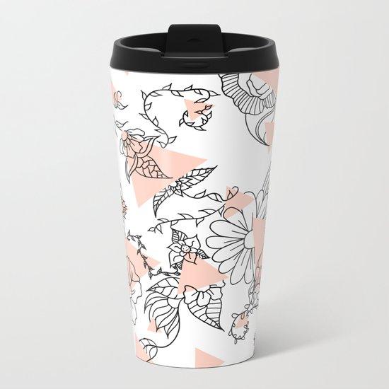 Modern hand drawn floral black illustration abstract blush pink geometric triangles Metal Travel Mug