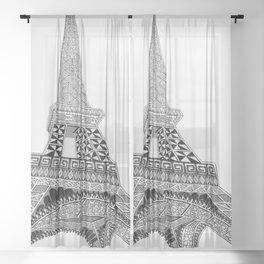 Eiffel Tower zentangle Sheer Curtain