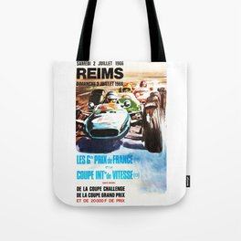 Gran Prix de Reims 1966, vintage poster, race poster, car poster Tote Bag