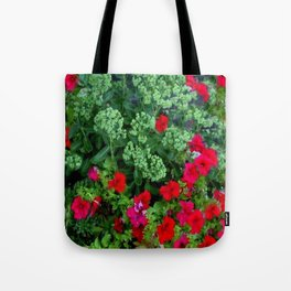Red Petunia Flowers Green Sedum Flora Art Tote Bag
