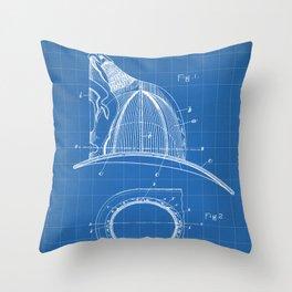 Firemans Helmet Patent - Fireman Art - Blueprint Throw Pillow