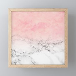 Modern blush pink watercolor ombre white marble Framed Mini Art Print