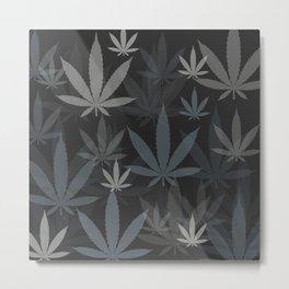 Marijuana Cannabis Weed Pot Grey Tones Metal Print