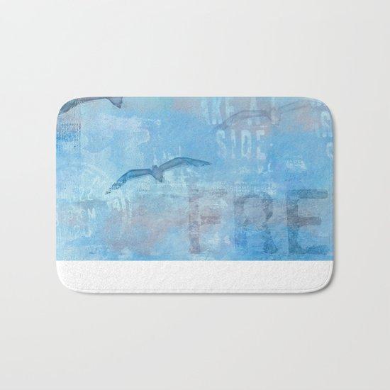 Free sea gull blue mixed media art Bath Mat