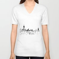 skyline V-neck T-shirts featuring Skyline by Massimiliano Bertozzi