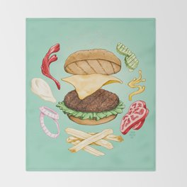 Burger Mandala Throw Blanket
