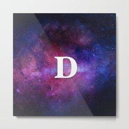 Monogrammed Logo Letter D Initial Space Blue Violet Nebulaes Metal Print