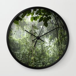 Dark Green Vines Hanging in the Misty Rainforest of Nicaragua at the Chocoyero-El Brujo Nature Reser Wall Clock