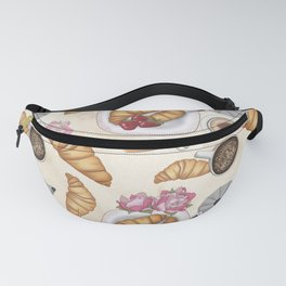 Good Morning Strawberries, Croissants And Coffee Pattern Fanny Pack