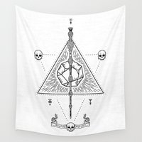 deathly hallows Wall Tapestries featuring Deathly Hallows (White) by Mírë