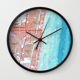 Vintage Map of Pompano Beach Florida (1962) Wall Clock