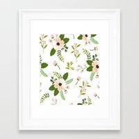 flower pattern Framed Art Prints featuring Flower Pattern by Jenna Davis Designs