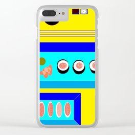 Sushi Served on Blue Dishes with Yellow Tablecloth Clear iPhone Case