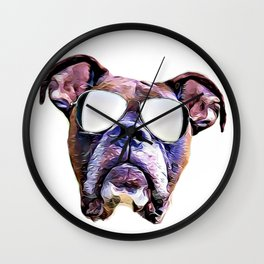Boxer dog with Glasses Wall Clock