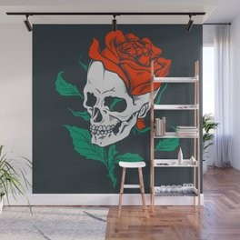 Dark Art Beauty in Everything Smiling Skull and Rose Wall Mural