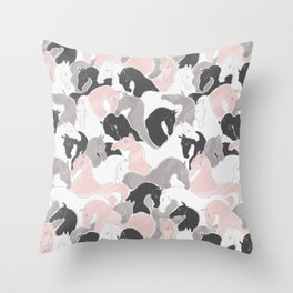 Playing Horses pattern Throw Pillow
