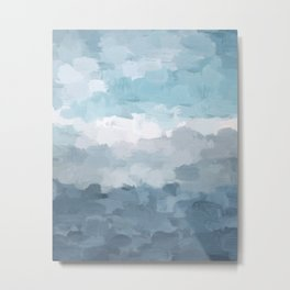 Indigo Navy Sky Blue Gray White Ocean Horizon, Abstract Sea Rainy Cloudy Stormy Water, Painting Art Metal Print