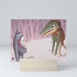 Drummer Bird Meets Croc Mini Art Print