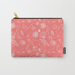 Seashell Pattern in Living Coral Carry-All Pouch