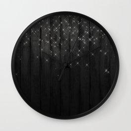 Fairy Lights on Wood 05 Wall Clock