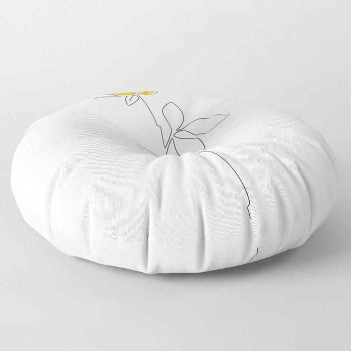 Lemon Rose Floor Pillow